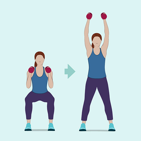 Image result for Jumping Jacks With Overhead Dumbbell Press:
