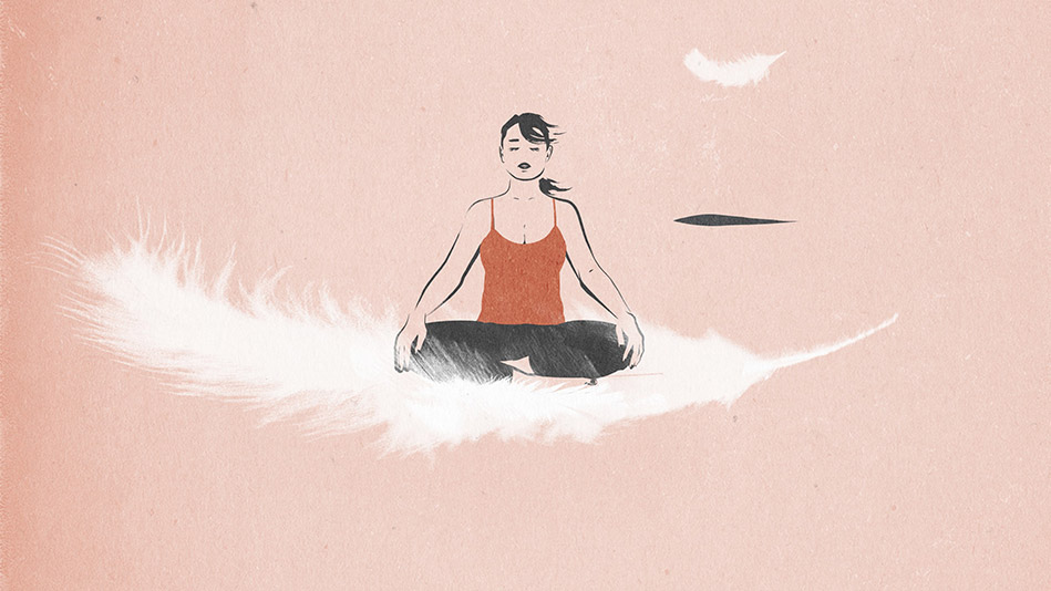 Illustration of a woman meditating on a giant feather