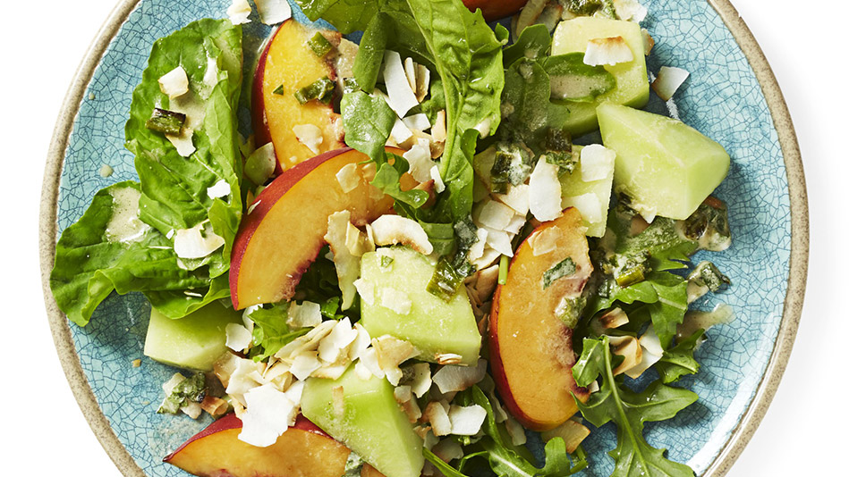 Peach and Arugula Salad with Coconut-Lemon Dressing Recipe