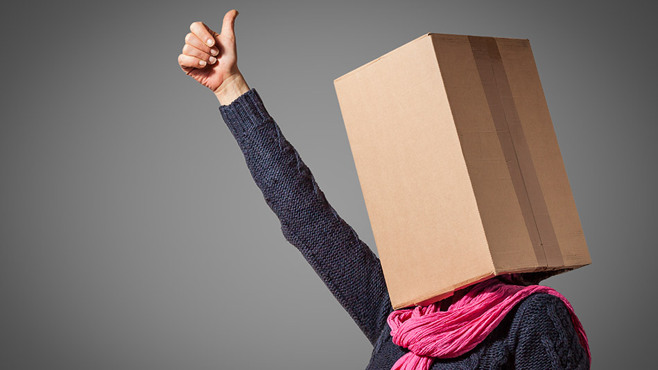woman with a box head