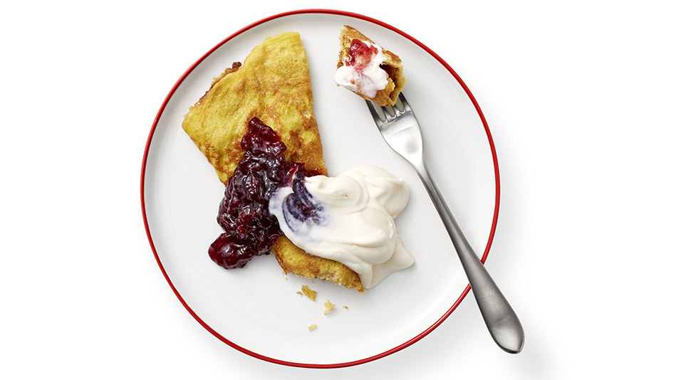 Sweet Egg Crepe with Cherry Jam and rème Fraiche Recipe
