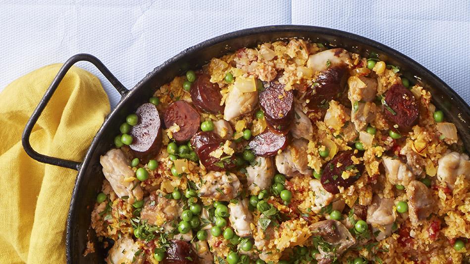saffron caluiflower-rice paella