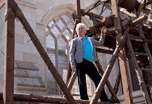 Author Ken Follett on the set of Pillars of the Earth