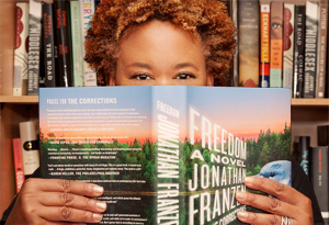 Oprah's Book Club producer Jill reading Freedom by Jonathan Franzen