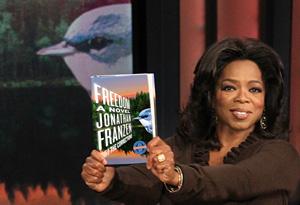 Oprah announcing her book club pick Freedom by Jonathan Franzen