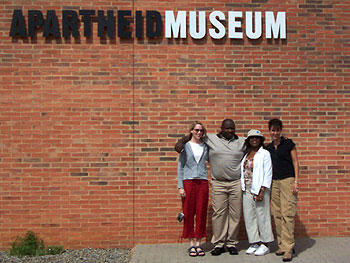 Carri, Senzo, Tiffany and Marina outside the Apartheid Museum.
