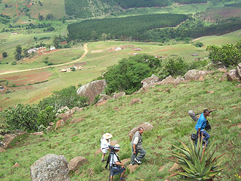 The crew hikes up Kumalo's Mountain South Africa.