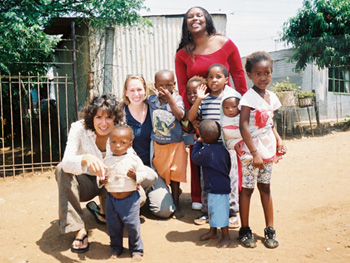 Marina, Carri and Tiffany with the children at the Jembizweni Daycare Center