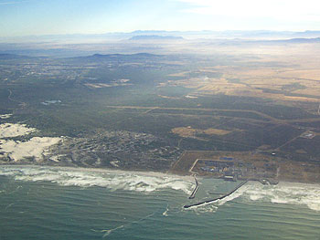 An aerial view of Cape Town's waterfronts.