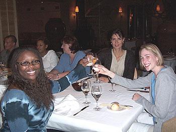 Marina, Tiffany and Carri toast to the trip of a lifetime!