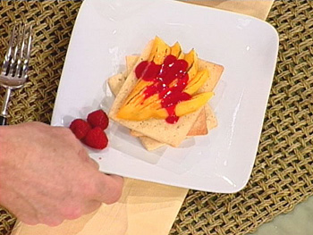Champagne Mangoes with Raspberry Coulis and Cardamom Shortbread