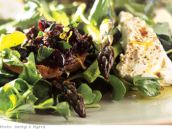 Roasted Asparagus and Goat Cheese Salad with Black Olive Toast