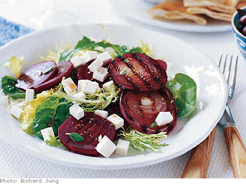 Beet Salad with Grilled Red Onions, Manouri Cheese and Kalamata Vinaigrette