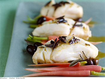 Poached Cod with Olive and Orange Vinaigrette