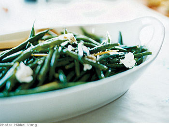 Green Beans with Goat Cheese and Fresh Lemon Vinaigrette