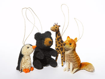 Brushkins by Nature's Accents animal ornaments