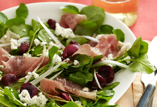 Salad of Spicy Greens, Cherries, Prosciutto, and Goat Cheese