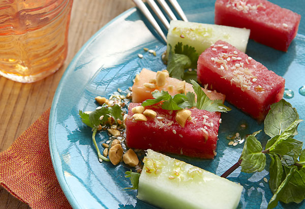 Burmese Melon Salad with Sesame-Ginger Vinaigrette