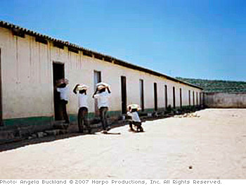 Children attend a school with poor conditions in KwaZulu-Natal.