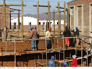 Local workers helped build the school.