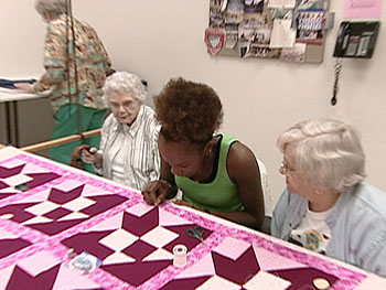 'Oprah's Big Give' contestant Rachael quilts at the Palmetto Senior Center.