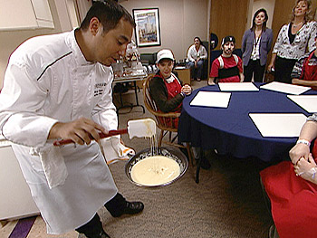 Chef Anthony Reyes gives a cooking lesson at Shriners Hospital for Children.