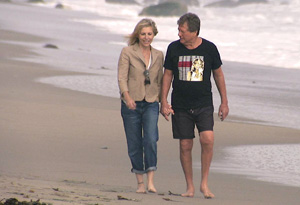 Ryan and Tatum O'Neal on the beach in Malibu, CA