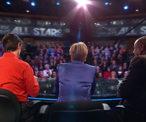 Dr. Oz, Suze Orman and Phil McGraw on the set of Ask Oprah's All Stars