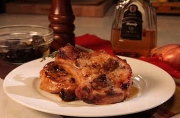 Pork Chops with Brandy and Prunes