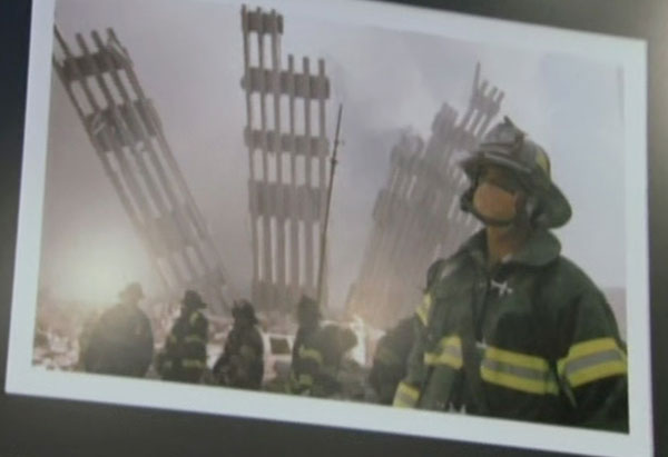 Firefighter in front of Ground Zero