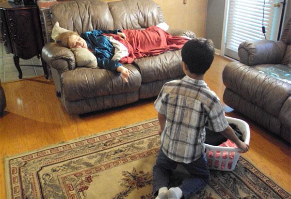 Robin Akbar's son David must clean the house