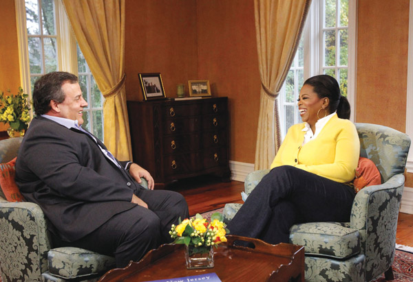 Oprah Winfrey and Chris Christie