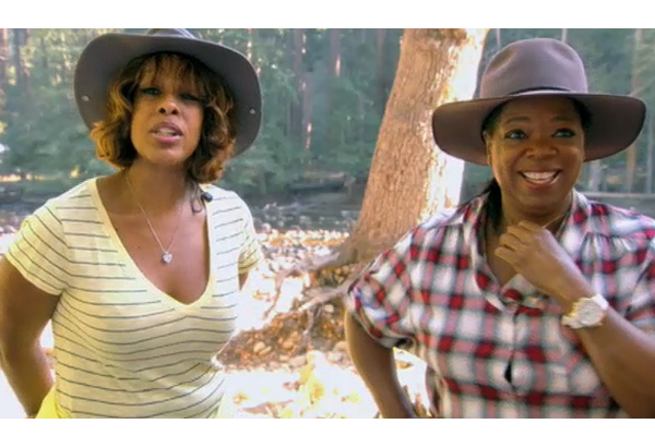Oprah and Gayle at the campsite