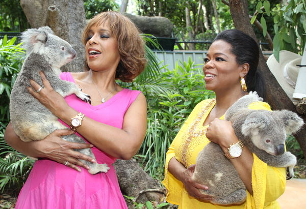 Oprah and Gayle with koalas
