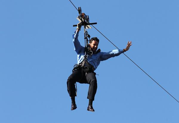 Hugh Jackman zip-lines