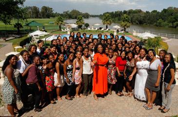 Oprah with The Oprah Winfrey Leadership Academy graduates