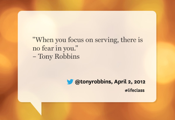 Tony Robbins quote from Oprah's Lifeclass: the Tour