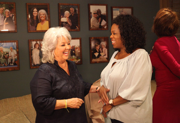 Oprah Winfrey and Gayle King in Paula Deen's home