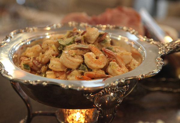 Shrimp in a silver serving dish