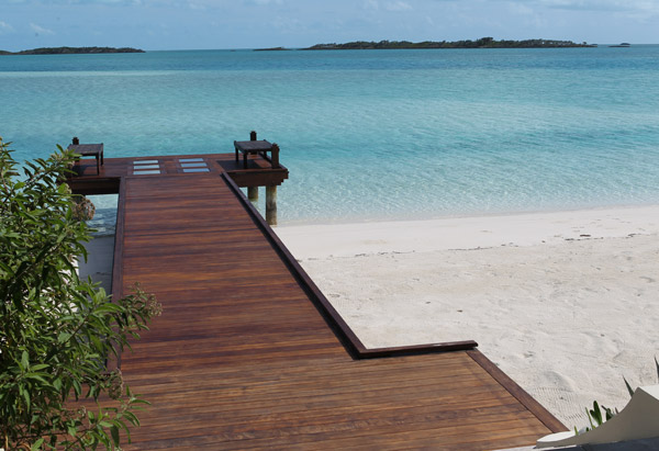 Wood dock off Musha Cay, David Copperfield's private island