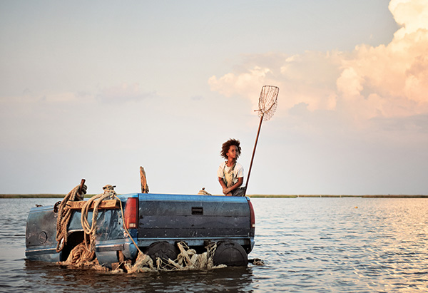 Quvenzhane Wallis in a makeshift boat from Beasts of the Southern Wild