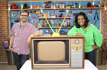 Rainn Wilson and Oprah Winfrey