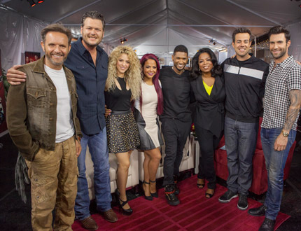 , Christina Milian, Usher, Oprah Winfrey, Carson Daly and Adam Levine