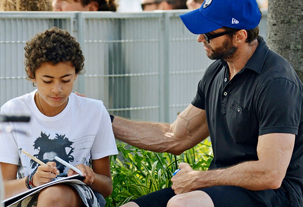 Hugh Jackman with his son