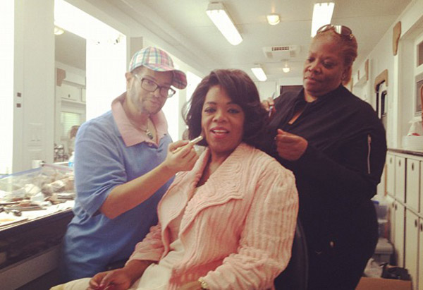 "Oprah Winfrey in makeup chair on set of ""Lee Daniels' The Butler"""