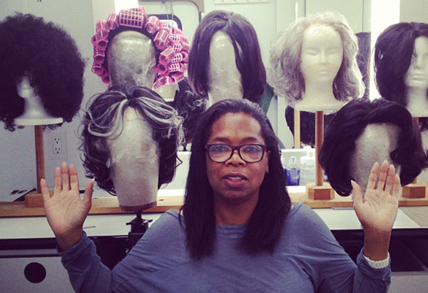 "Oprah Winfrey with her wigs during filming of ""Lee Daniels' The Butler"""