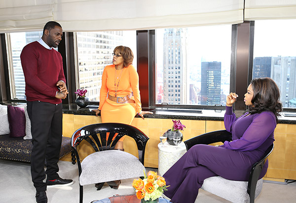 Actor Idris Elba talking with Gayle King and Oprah Winfrey
