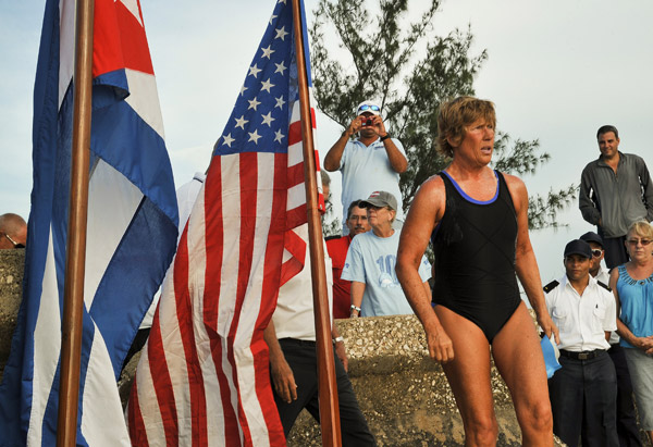 Diana Nyad during her preparation for her third attempt to swim from Havana to Key West, Florida