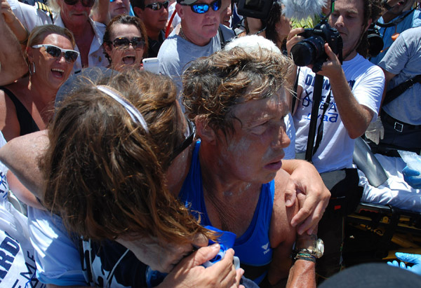 Diana Nyad after finishing her historic 110-mile swim from Havana to Key West, Florida