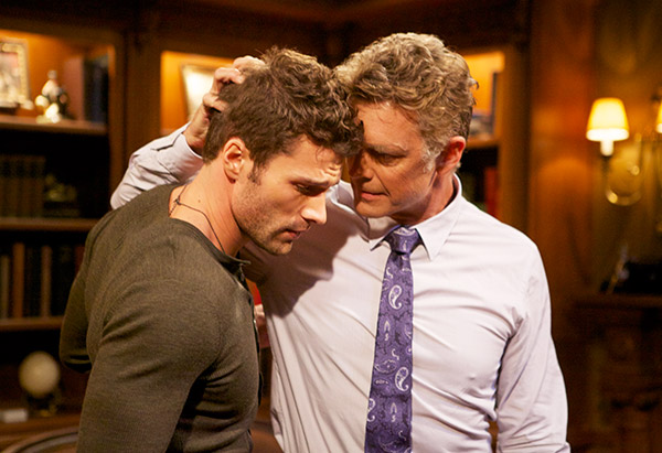Aaron O'Connell as Wyatt Cryer and John Schneider as Jim Cryer